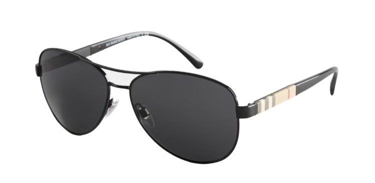 Sunčane naočale Burberry Check Arm Aviator Black
